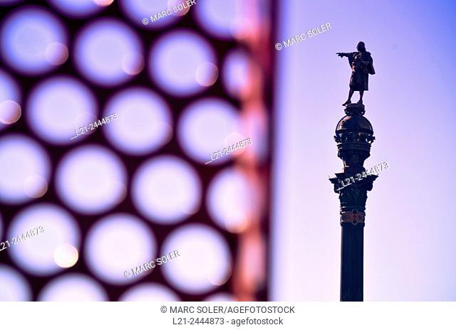 Monument to Columbus, detail. Barcelona, Catalonia, Spain