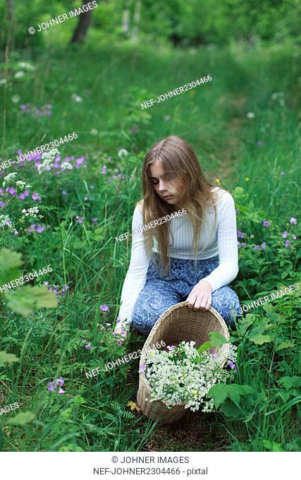 Teenage girl picking flowers in meadow