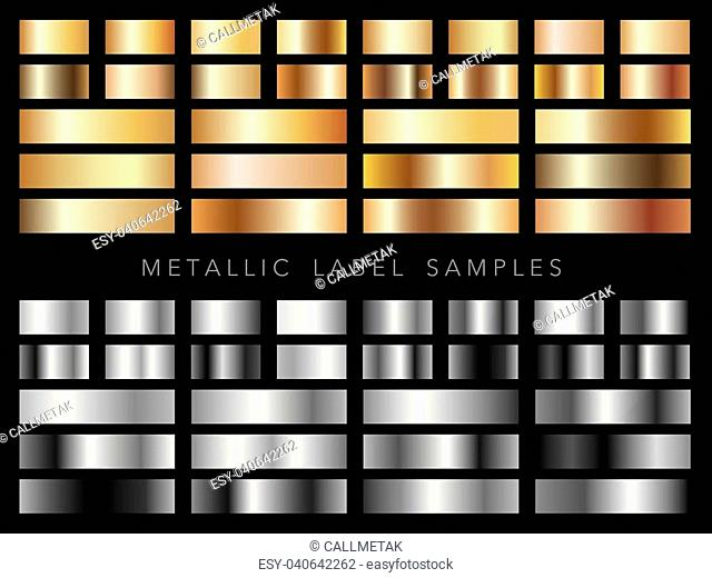 A set of assorted metallic gold and silver label samples, vector illustrations