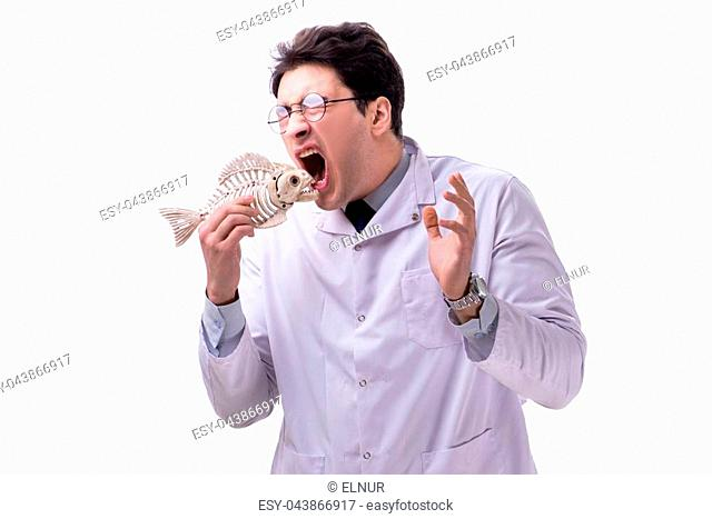 Funny crazy professor paleontologyst studying animal skeletons isolated on white