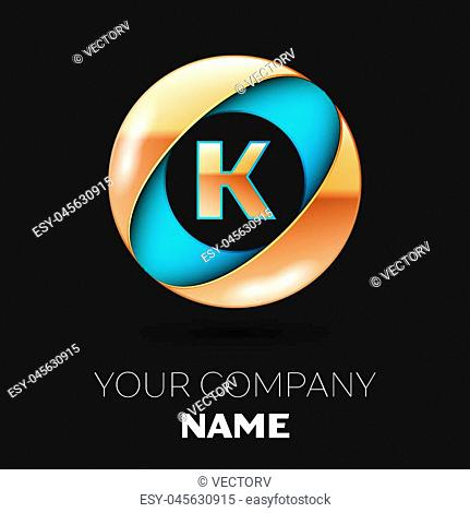 Realistic Golden Letter K logo symbol in the blue-golden colorful circle shape on black background. Vector template for your design