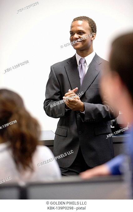 Close-up of businessman in meeting