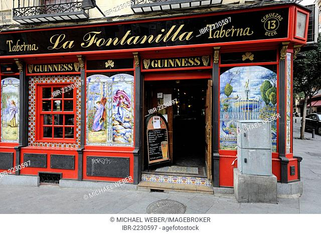 Paintings on tiles at the Taberna La Fontanilla, Plaza de Puerta Cerrada, Madrid, Spain, Europe, PublicGround