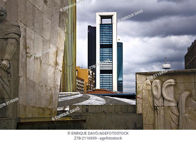 Urban vision of a Plaza Castilla quarter of Madrid city
