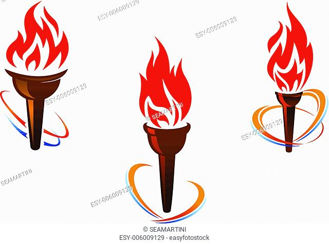 Three torches with fire flames for sports or peace concept design