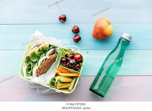 Healthy school food in a lunch box, vegetarian sandwich with cheese, lettuce, cucumber, egg and cress, sliced carrot and celery, cherries and pear