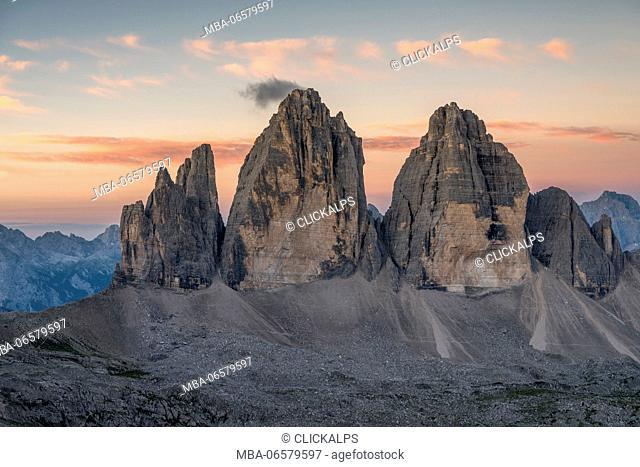 Sesto/Sexten, Dolomites, South Tyrol, Italy, Dawne over the Tre Cime di Lavaredo/Drei Zinnen, Taken from the summit of Torre di Toblin/Toblinger Knoten
