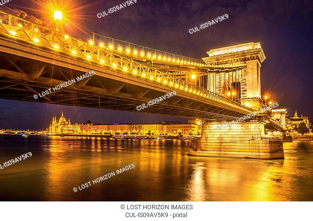 Chain Bridge illuminated at night on the Danube, Hungary, Budapest