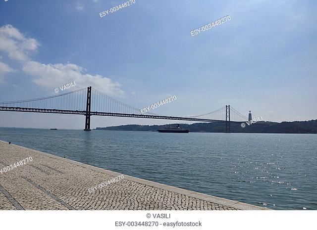 A river Tejo, hanging bridge