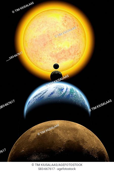 Solar system. Mars, Earth, Venus, Mercury, Sun