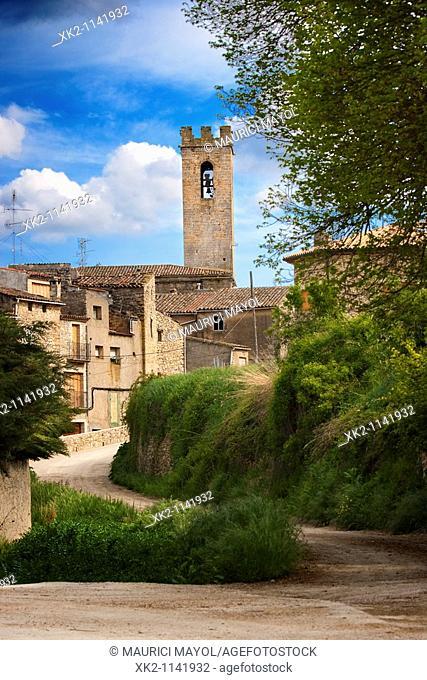 Vista general del poble de Conesa, Conca de Barberà, Catalunya, Spain