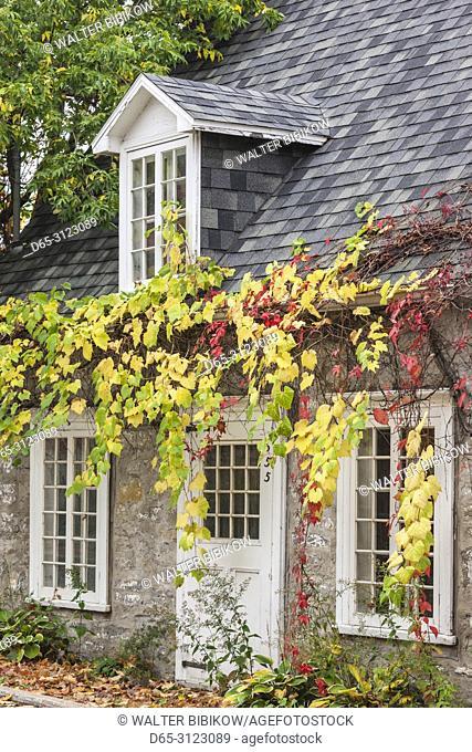 Canada, Quebec, Capitale-Nationale Region, Neuville, Rue des Erables, village building, autumn