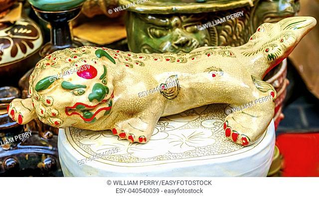 Old Chinese replica Ceramic Dragon Panjuan Flea Market Decorations Beijing China. Panjuan Flea Curio market has many fakes