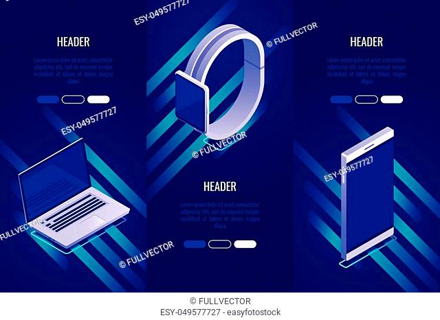 Set of 3 conceptual headings about mobile devices. Landing page template for selling mobile devices. Vector illustration in Isometric style
