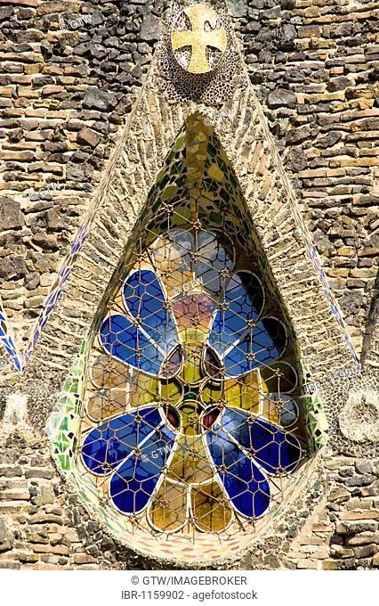 Unfinished church of Colonia Gueell, Detail of the windows, architect Antonio Gaudi, Unesco World Heritage Site, Santa Coloma de Cervello, Barcelona, Catalonia