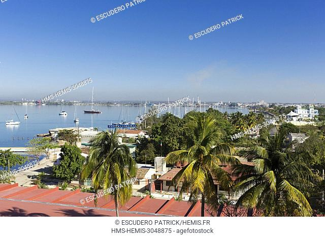 Cuba, Cienfuegos province, Cienfuegos, Punta Gorda, high angle view of the bay and the city center in the background
