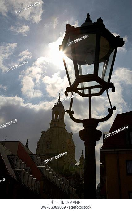 street light, Frauenkirche in background, Germany, Saxony, Dresden