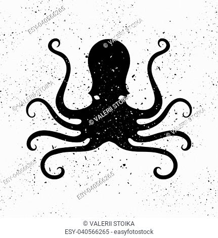 Silhouette of Octopus Icon Isolated on Grunge Background. Stilized Logo Design. Sea Food Symbol