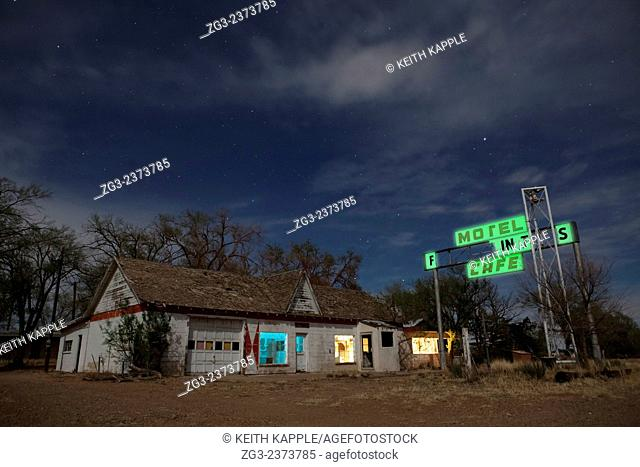 Abandoned Old retro gas station at night, west Texas, USA