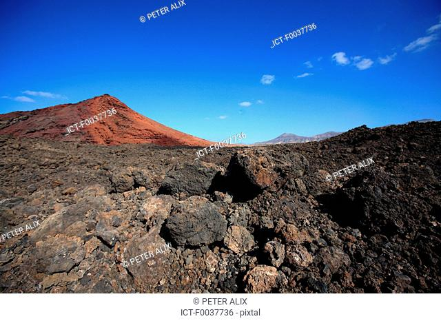 Spain, Canary islands, Lanzarote, National park of Timanfaya, Bermeja mountain
