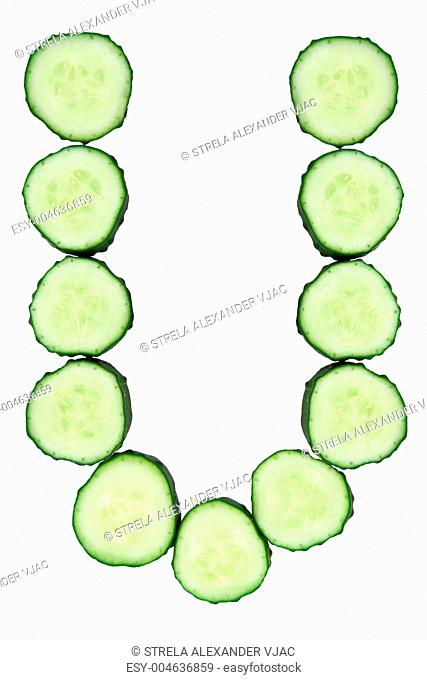 Vegetable Alphabet of chopped cucumber - letter U