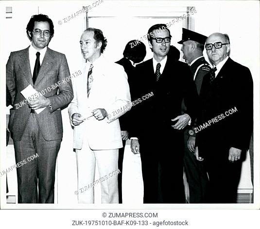 Oct. 10, 1975 - Montreal Int. Airport Press Preview.Francis Fox, M.P.; Prime Minister Pierre E. Trudeau; Roker Bourassa, Premier of Quebec; Jean Drapeau