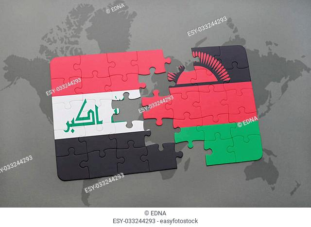 puzzle with the national flag of iraq and malawi on a world map background. 3D illustration