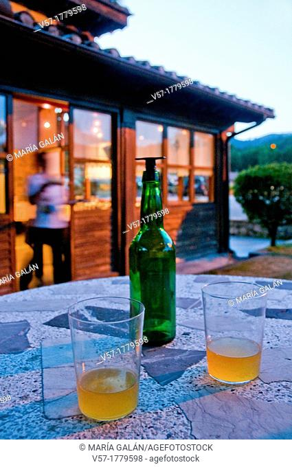 Two glasses of cider at evening. Asturias, Spain