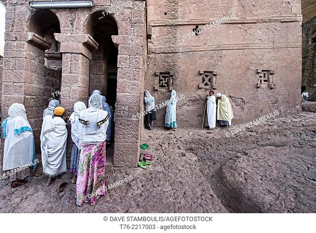 pilgrims at Bet Maryam rock hewn church in Lalibela, Ethiopia