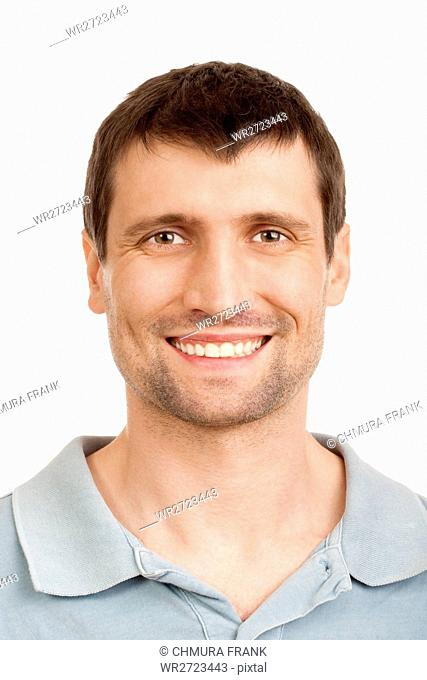 portrait of a man smiling - isolated on white