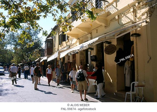Tourists at market, Rhodes, Dodecanese Islands, Greece