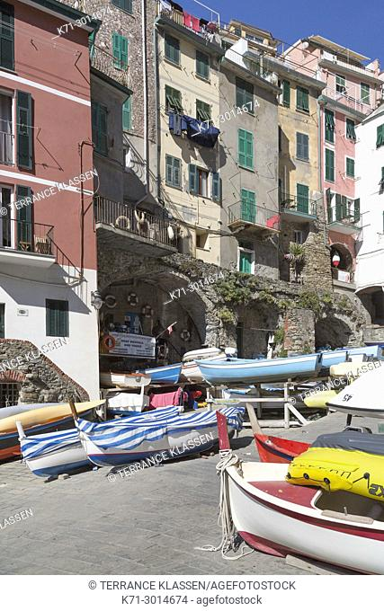 Colorful fishing boats in the village of Riomaggiore, Cinque Terre, Italy, Europe