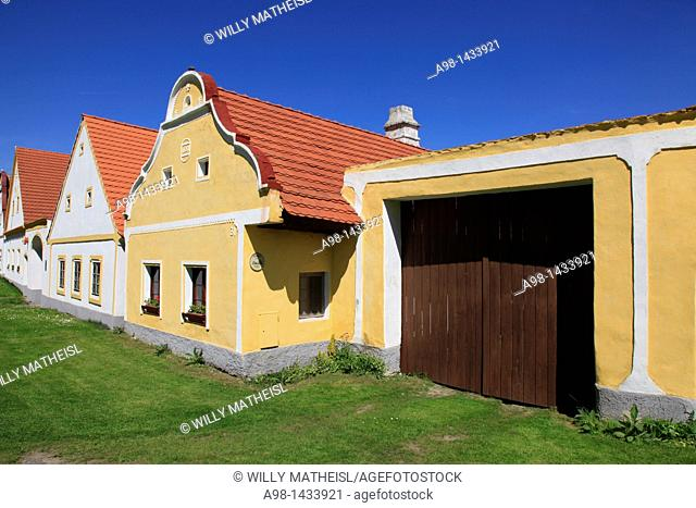 gate to historic farm house at the village Holasovice. Unesco World heritage site. South Bohemia. Czech Republic