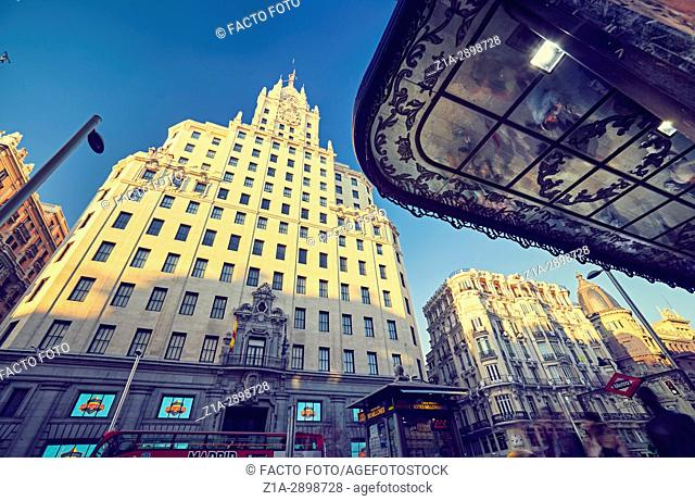 Telefonica building and Gran Via street. Madrid, Spain