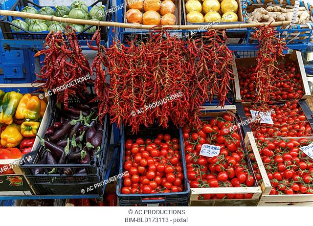 Produce for sale in market