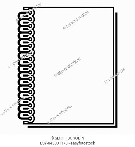 Notebook with spring icon black color vector illustration flat style outline