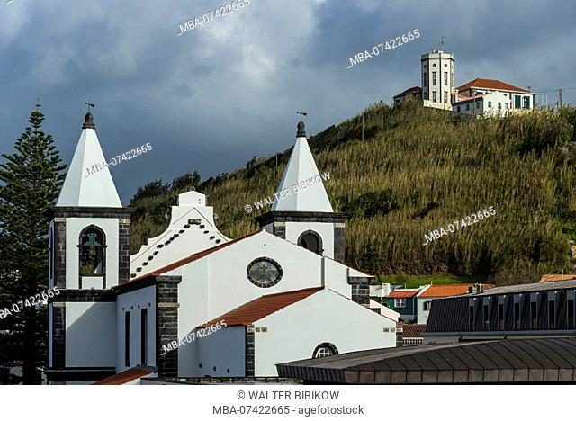 Portugal, Azores, Faial Island, Horta, Igreja de Nossa Senhora das Angustias and the Observatorio Principe Alberto de Monaco observatory