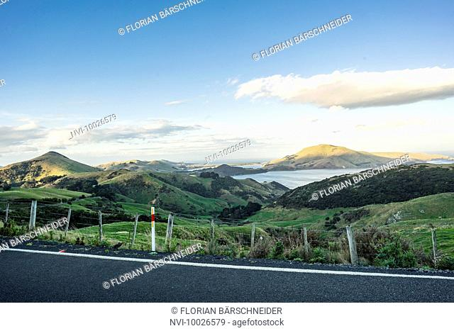View over Hoopers Inlet at sunset, Portobello, New Zealand