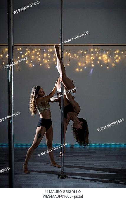 Pole dancers during a performance