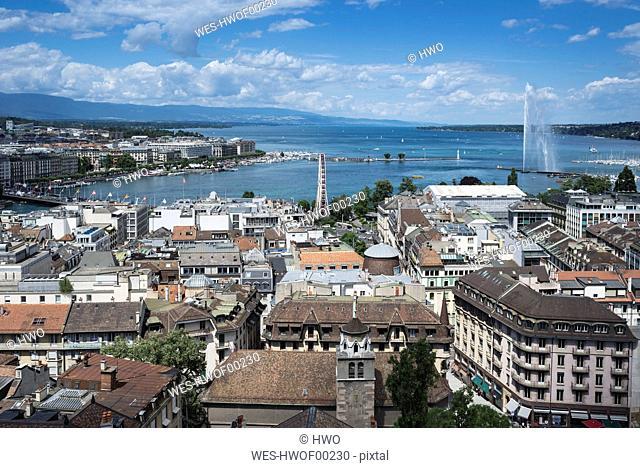 Switzerland, Geneva, view to the city and Lake Geneva from above