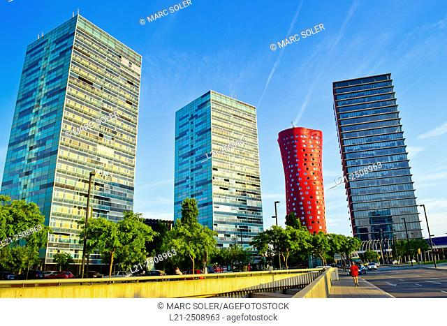 Spain, Catalonia, Barcelona province, Hospitalet de Llobregat, Gran Via, Fira de Barcelona, Skyscrapers on sunny day