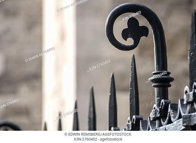 Dublin, Ireland- Decorative iron fence in the city of Dublin, the capitol of the Republic of Ireland located on Ireland's eastern coast