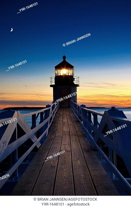 Twilight at Marshall Point Lighthouse near Port Clyde Maine, USA