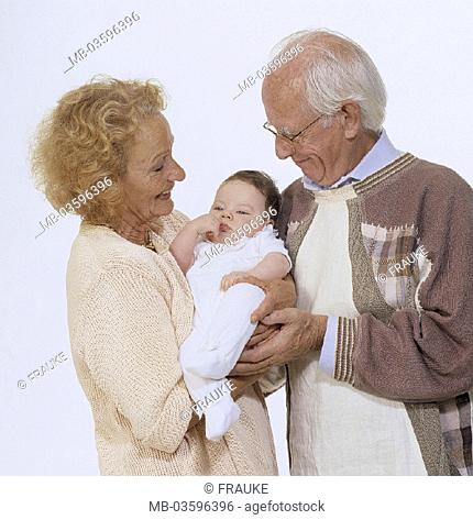 Grandparents, baby, happily, half portrait, studio, couple, grandma, grandpa, grandmother, grandfather, child, toddler, infant, love, lovingly