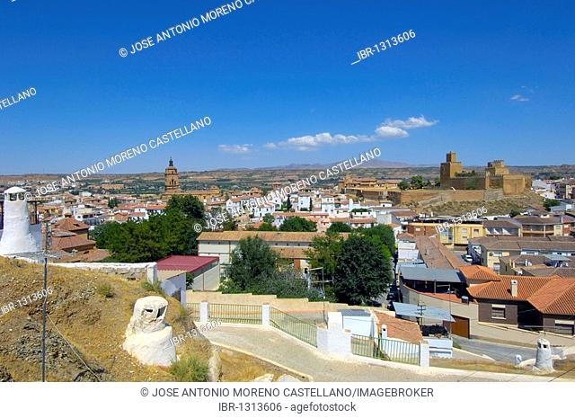 Cathedral and Alcazaba, view from Santiago troglodyte quarter, Guadix, Marquesado region, Granada province, Andalusia, Spain, Europe