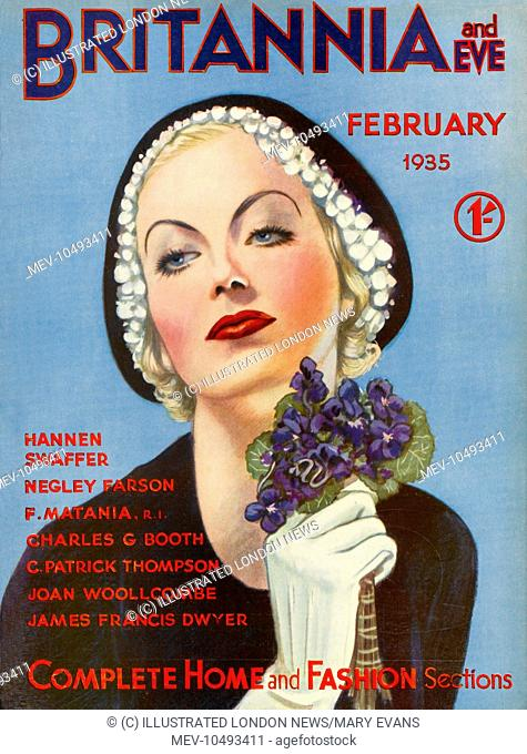 Front cover illustration featuring a glamorous 1930s woman, wearing a dark collarless jacket, with white gloves and a dark hat with white floral trim