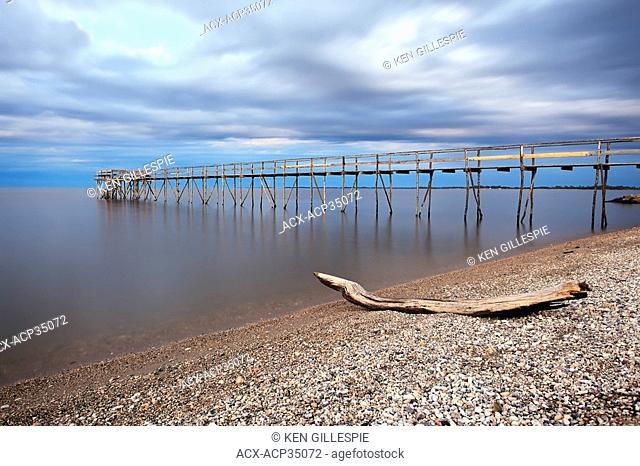 Wooden Pier on Lake Winnipeg and Matlock Beach. Matlock, Manitoba, Canada