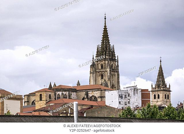 Distant view of towers of Cahedral of Oviedo, Asturias, Spain