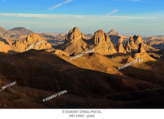 Sunset view from Assekrem, volcanic rocks, landscape of Atakor, Hoggar, Ahaggar Mountains, Wilaya Tamanrasset, Algeria, Sahara, North Africa