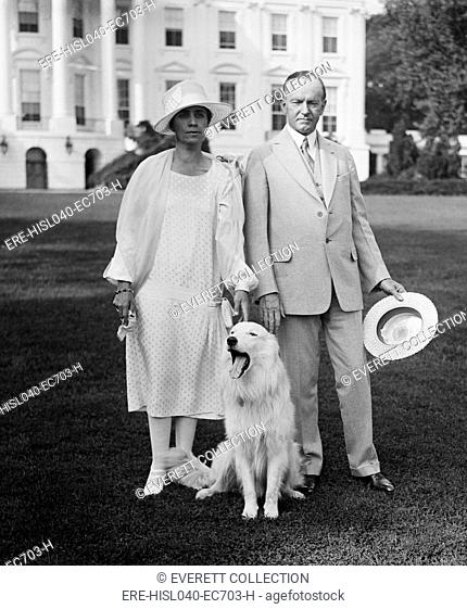 President Calvin Coolidge and Grace Coolidge with their white collie Rob Roy, 1927. White House South Lawn, Washington, D.C. (BSLOC-2015-15-169)